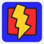 Rayo azul y amarillo rojo pegatina cuadradas personalizada