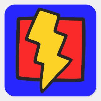 Rayo azul y amarillo rojo pegatina cuadrada