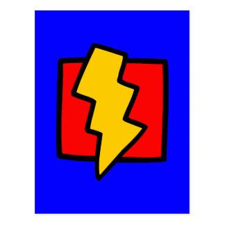 Rayo azul y amarillo rojo postales