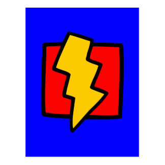 Rayo azul y amarillo rojo postal