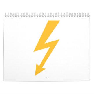 Rayo de destello amarillo calendario de pared