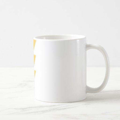 Rayo de destello amarillo taza básica blanca
