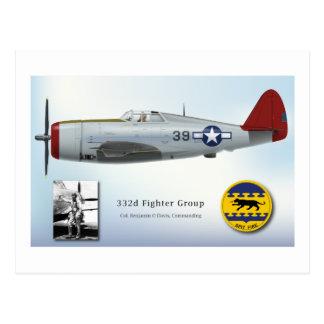 """Rayo de P-47C de la """"cola roja"""" de Tuskegee Tarjetas Postales"""