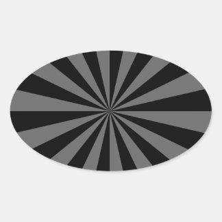 Rayo de sol en pegatina oval negro y gris
