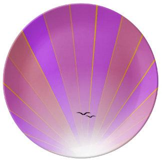 """Rayo de sol rosado y placa """"suelta"""" de las gaviota plato de cerámica"""