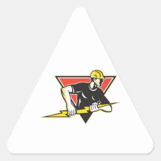 Rayo del electricista retro pegatina triangular