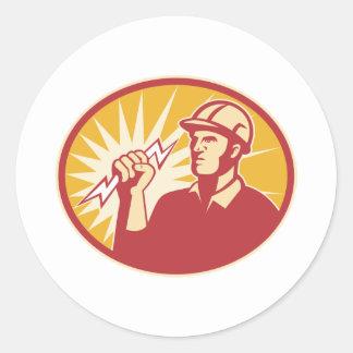 Rayo del trabajador de línea eléctrica del etiqueta redonda