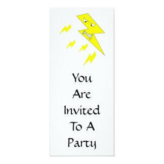 """Rayo enojado. Amarillo en blanco Invitación 4"""" X 9.25"""""""