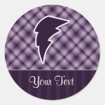 Rayo púrpura pegatina redonda