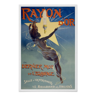 Rayon d'Or, 1895. Vintage Lighting Advertising Poster