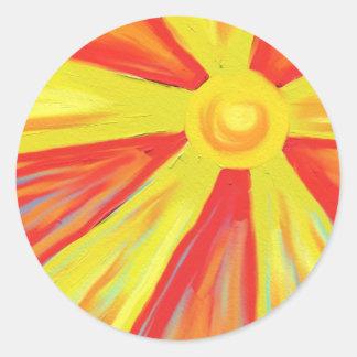 Rayos calientes de Sun Pegatina Redonda