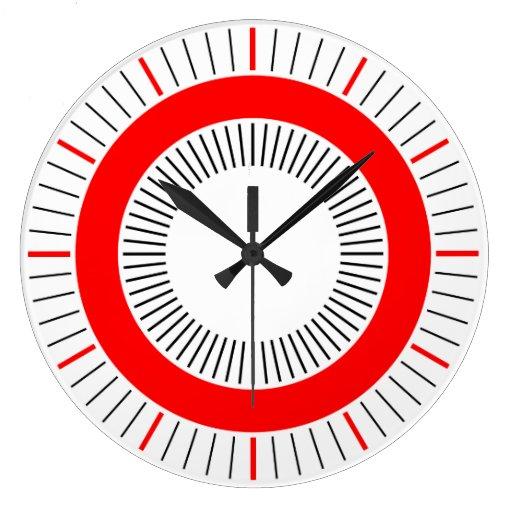 Rayos concéntricos - rojo reloj redondo grande