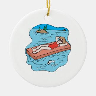 Rayos de cogida adorno navideño redondo de cerámica