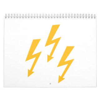 Rayos de destello amarillos calendario de pared