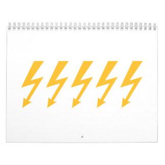 Rayos de destello amarillos calendarios de pared