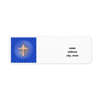 Rayos de la luz de la cruz religiosa (en azul) etiqueta de remitente