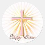 Rayos de la luz de la cruz religiosa (en blanco) etiqueta redonda
