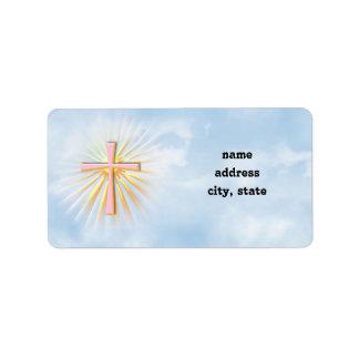 Rayos de la luz de la cruz religiosa (W/Clouds) Etiquetas De Dirección