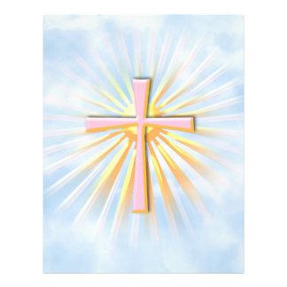 Rayos de la luz de la cruz religiosa (W/Clouds) Folleto 21,6 X 28 Cm