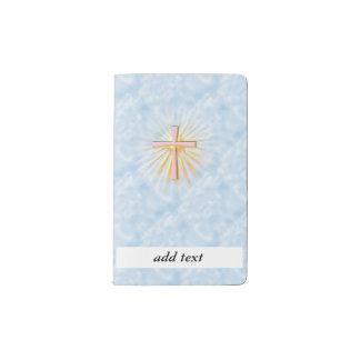Rayos de la luz de la cruz religiosa (W/Clouds) Funda Para Libreta Y Libreta Pequeña Moleskine