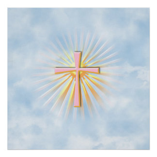 Rayos de la luz de la cruz religiosa W Clouds Posters