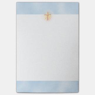 Rayos de la luz de la cruz religiosa (W/Clouds) Post-it® Nota