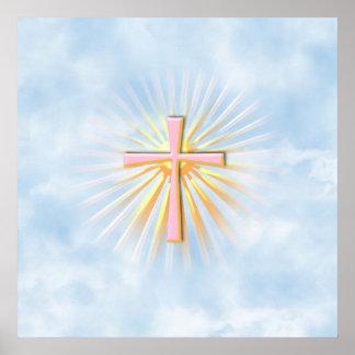 Rayos de la luz de la cruz religiosa (W/Clouds) Póster