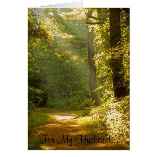 Rayos de la luz, para mi marido… tarjeta de felicitación
