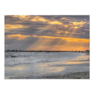 Rayos de la puesta del sol de Galveston Cojinete