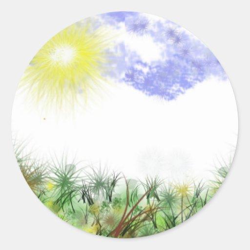 Rayos de la tierra verde pegatina redonda