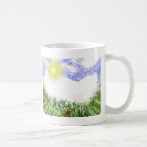 Rayos de la tierra verde taza de café