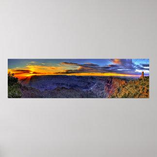 Rayos de sol del Gran Cañón y poster del panorama