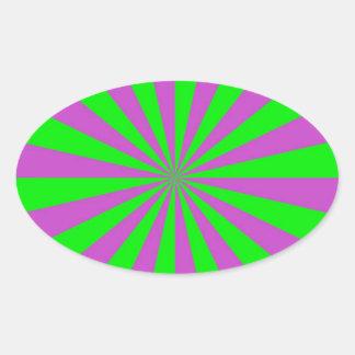 Rayos de sol en pegatina oval rosado y verde