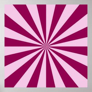 Rayos de sol en poster rosado y Cerise