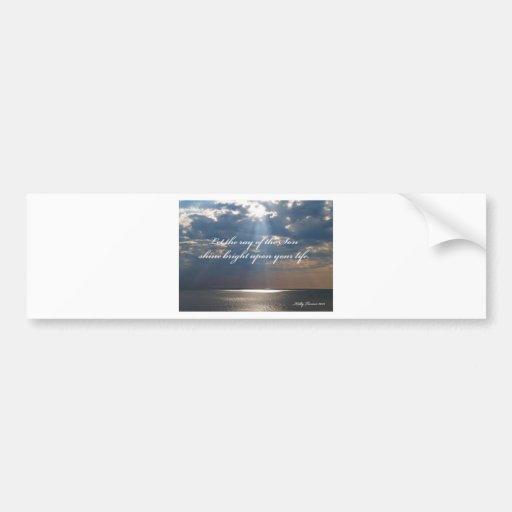Rayos del poema inspirado del hijo etiqueta de parachoque