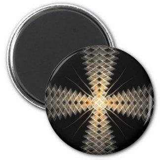 Rayos del zigzag del arte del fractal de la luz imán redondo 5 cm