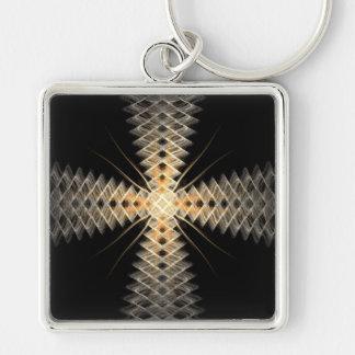 Rayos del zigzag del arte del fractal de la luz llavero cuadrado plateado