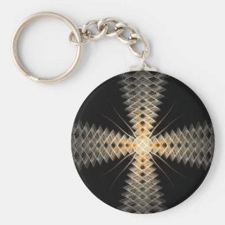 Rayos del zigzag del arte del fractal de la luz llavero redondo tipo pin