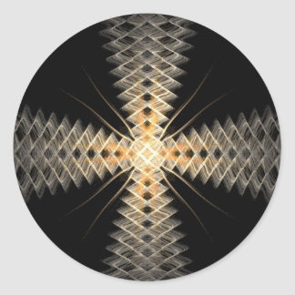 Rayos del zigzag del arte del fractal de la luz etiqueta redonda