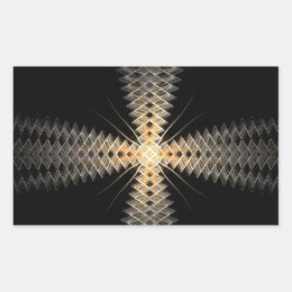 Rayos del zigzag del arte del fractal de la luz rectangular pegatina