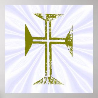 Rayos destruidos falso oro del blanco de la cruz póster