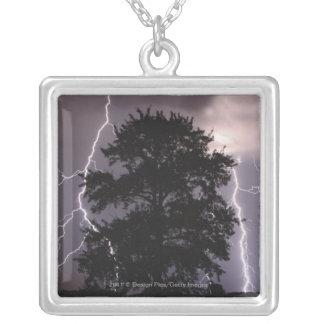 Rayos en el cielo detrás de un árbol colgante cuadrado