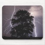 Rayos en el cielo detrás de un árbol alfombrillas de ratón