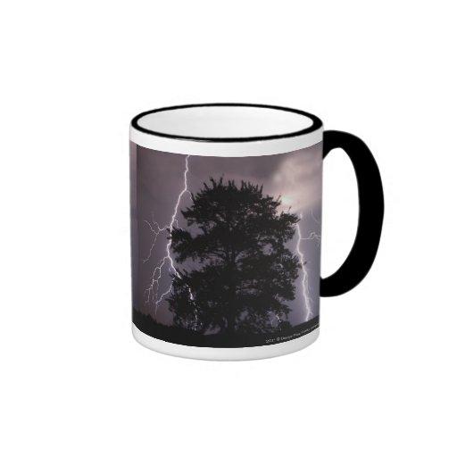 Rayos en el cielo detrás de un árbol taza de café