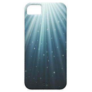 Rayos ligeros brillantes y estrellas de la noche iPhone 5 Case-Mate cárcasa