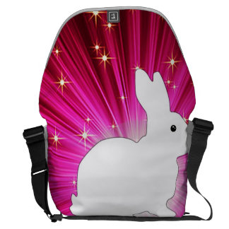 Rayos ligeros coloridos y conejito blanco bolsa messenger