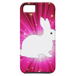 Rayos ligeros coloridos y conejito blanco iPhone 5 carcasas