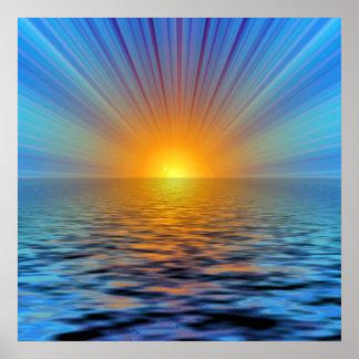 rays-687316 DIGITAL SUNRISE  OCEAN RIPPLES BACKGRO Poster