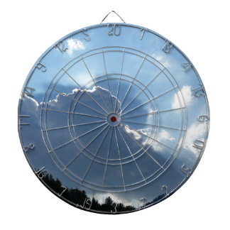 rays and clouds dartboard with darts
