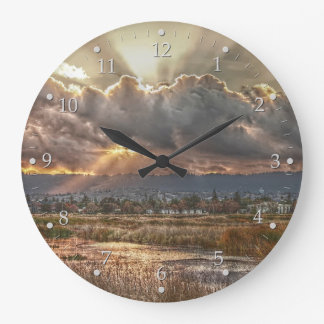 Rays at Sunset Large Clock
